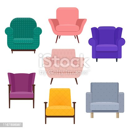 Set of different armchairs for living room or bedroom. Vector illustration on white background