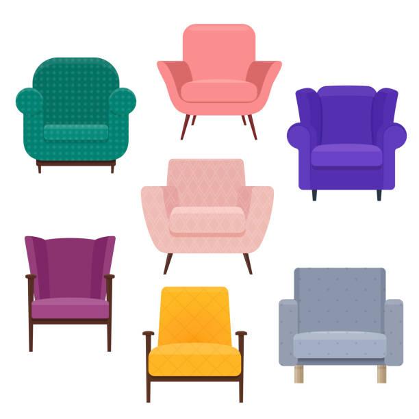 bildbanksillustrationer, clip art samt tecknat material och ikoner med uppsättning av olika fåtöljer - stol