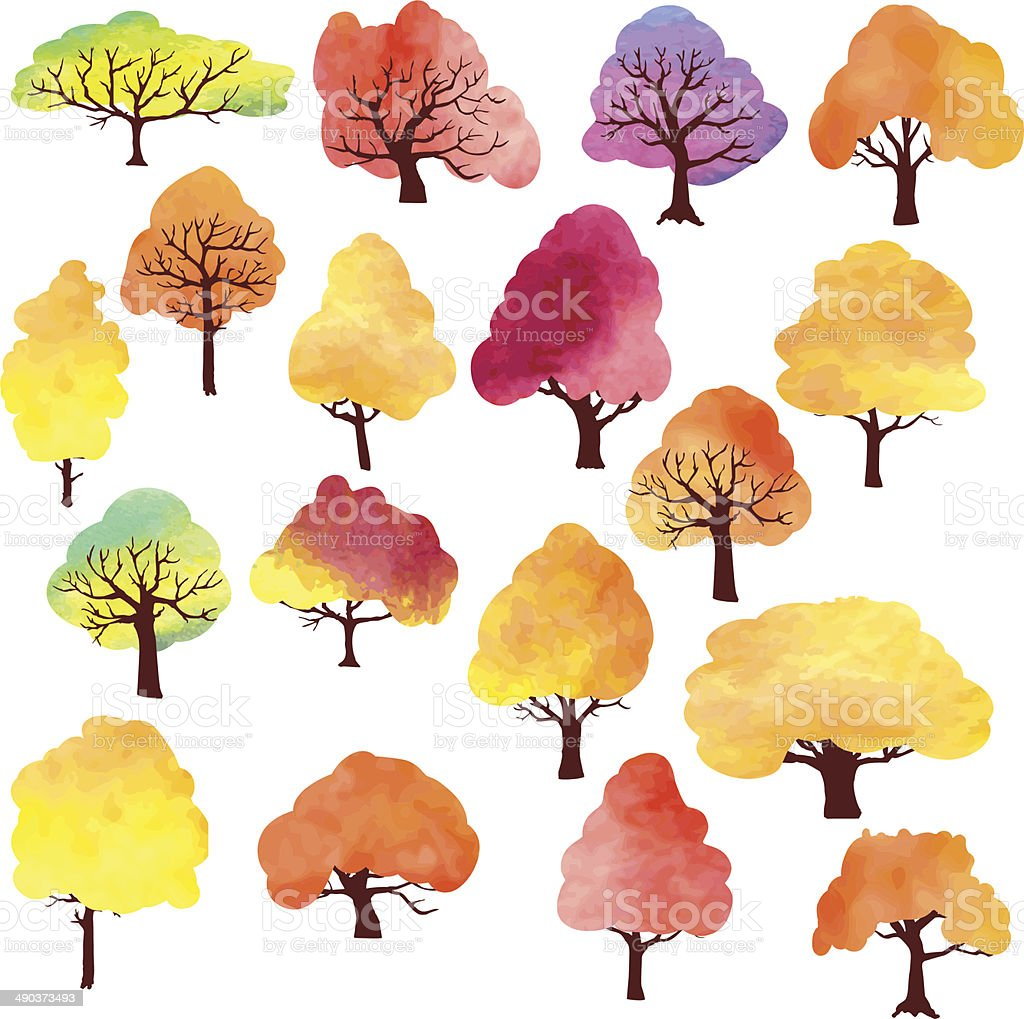 set of different autumn trees by watercolor vector art illustration