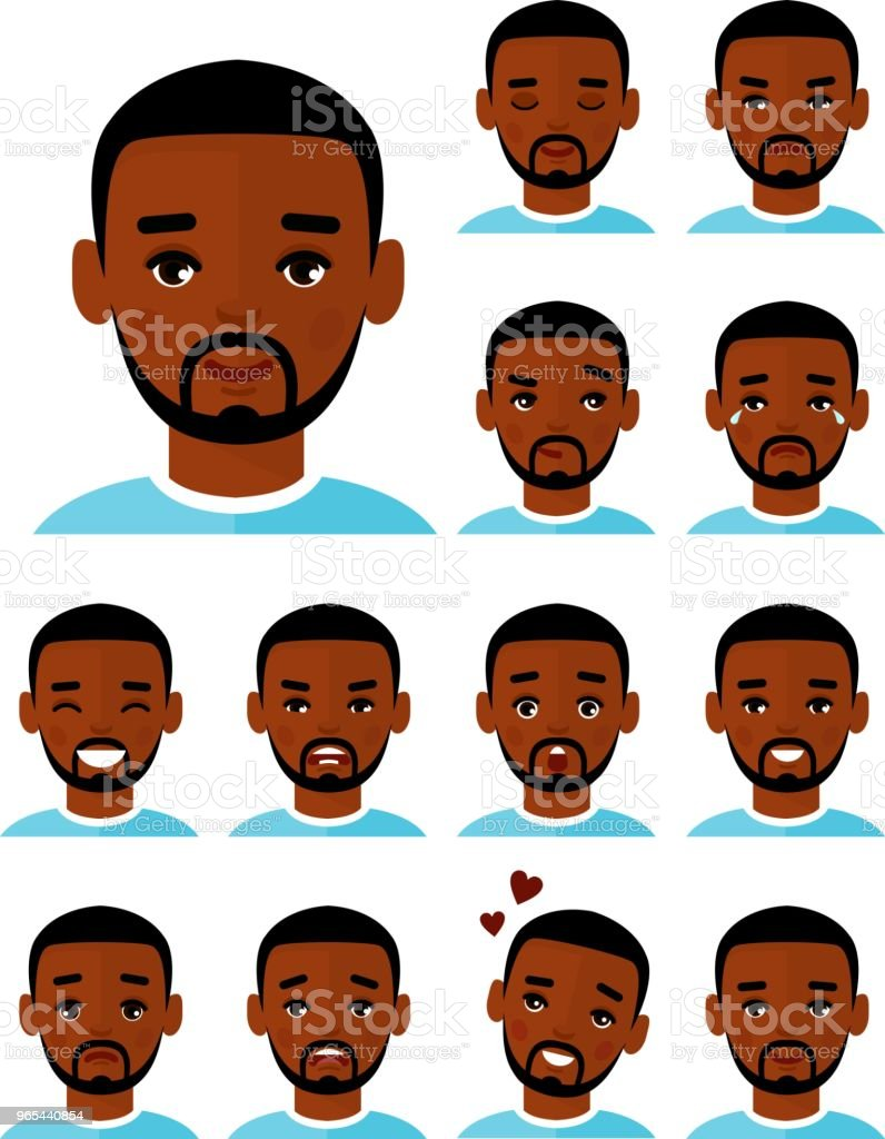Set of different avatar african american people male in colorful flat style. royalty-free set of different avatar african american people male in colorful flat style stock vector art & more images of adult