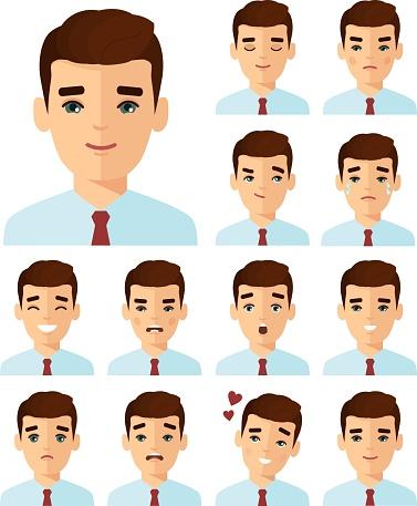 다른 아바타 사람들이 화려한 플랫 스타일에 남자의 집합입니다 남성에 대한 스톡 벡터 아트 및 기타 이미지