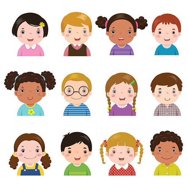 satz von verschiedenen-avatare von jungen und mädchen - kindergesichtsfarben stock-grafiken, -clipart, -cartoons und -symbole