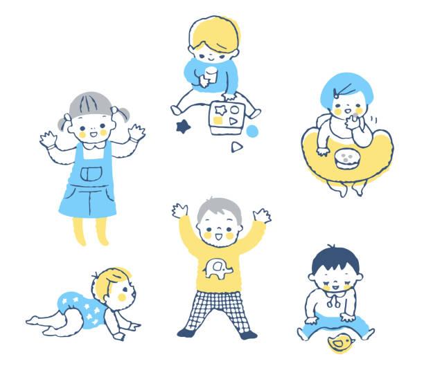 異なる赤ちゃんの動きのセット - ベビーフード点のイラスト素材/クリップアート素材/マンガ素材/アイコン素材