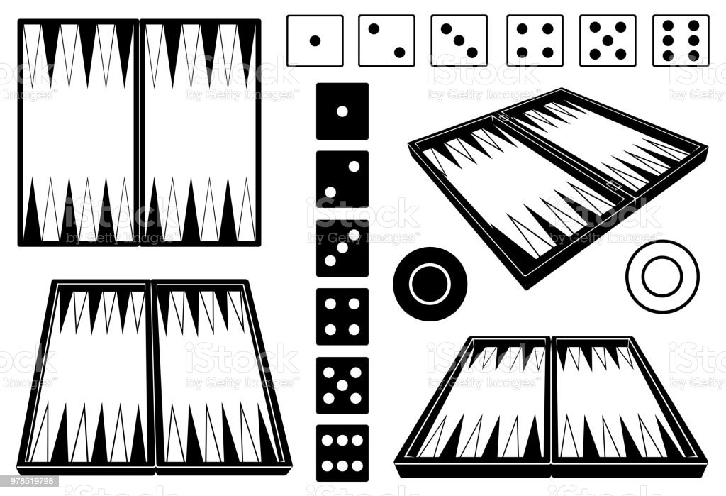 Conjunto de tableros de backgammon diferentes - ilustración de arte vectorial