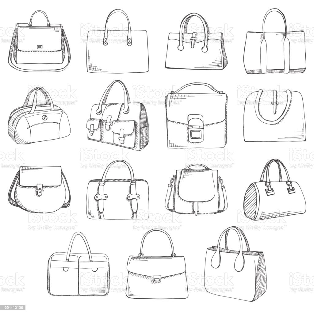 Set of different bags, men, women and unisex. Bags isolated on white background. Vector illustration in sketch style. vector art illustration