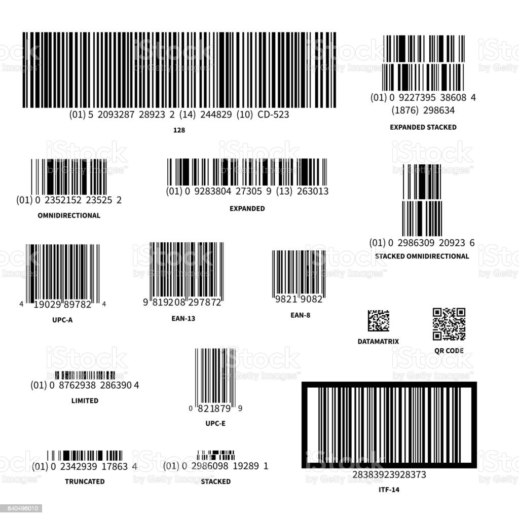 Set of different barcodes isolated on white vector art illustration