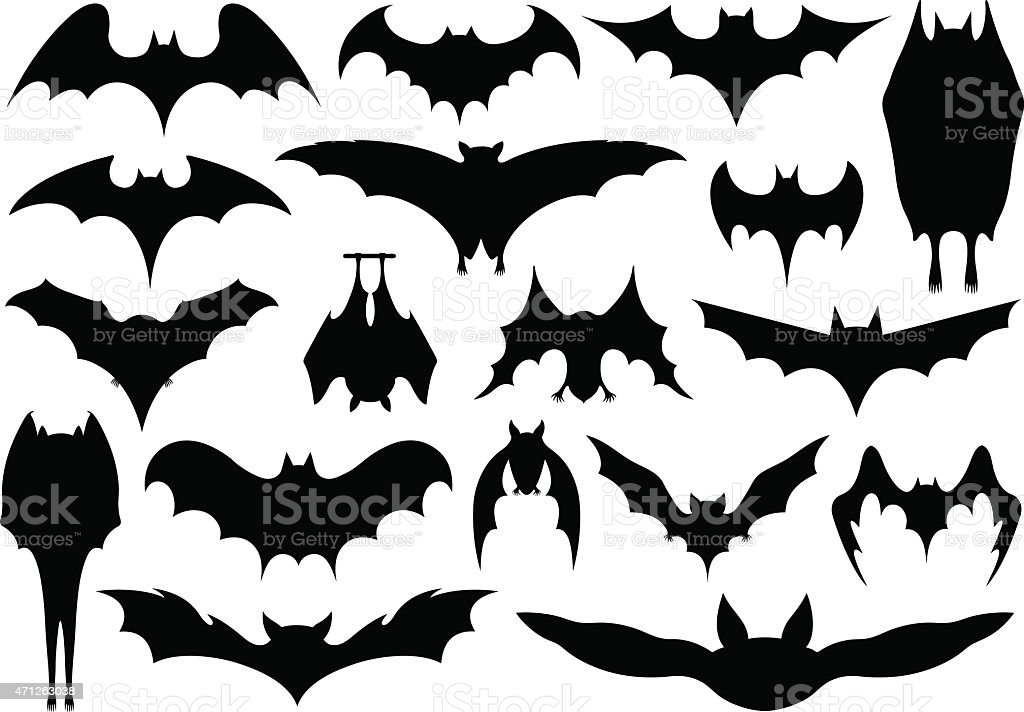 Set of different bats vector art illustration