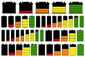 Set of different batteries