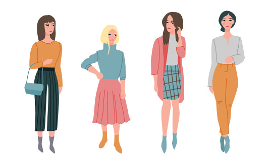 Set of different beautiful young women in fashionable clothes. Vector illustration in flat cartoon style