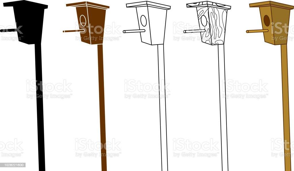 Set of different birdhouses on white background vector art illustration