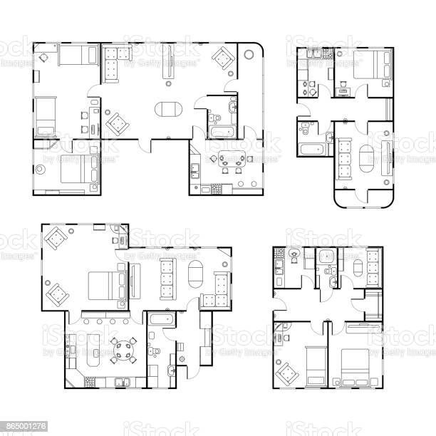 Set of different black and white house floor plans with interior on vector id865001276?b=1&k=6&m=865001276&s=612x612&h=mj58 nopuboc9u9capyhd61qwbi9fikljlbbje8cmz0=