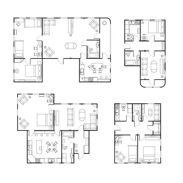 illustrazioni stock, clip art, cartoni animati e icone di tendenza di set di diverse planimetrie della casa bianca e nera con dettagli interni isolati su bianco - appartamento