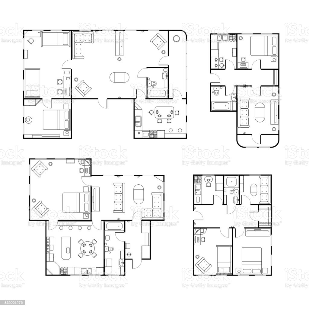 Set of different black and white house floor plans with interior details isolated on white vector art illustration