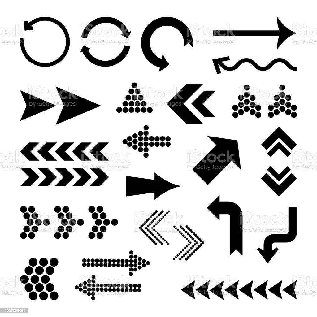 Ensemble de différentes flèches noires, illustration vectorielle ensemble de différentes flèches noires illustration vectorielle vecteurs libres de droits et plus d'images vectorielles de affichage digital libre de droits