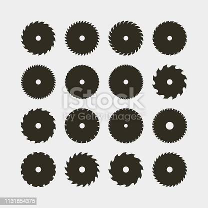 set of different black silhouettes of circular saw blades. sawmill design elements for logotypes and emblems. vector illustration