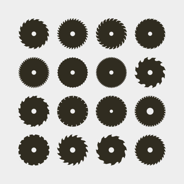 set of different black silhouettes of circular saw blades. vector illustration set of different black silhouettes of circular saw blades. sawmill design elements for logotypes and emblems. vector illustration blade stock illustrations