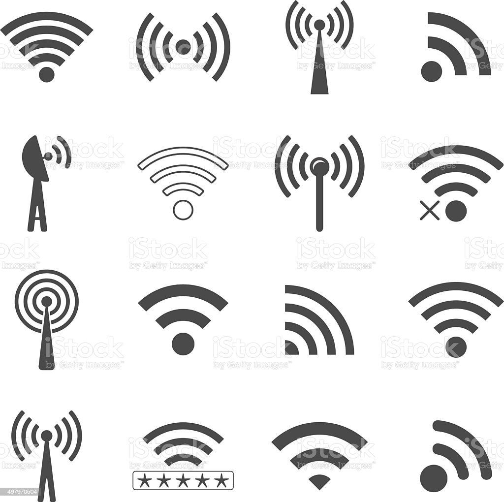 set of different black vector wifi icons, concept of communicati