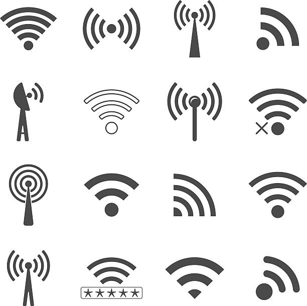 set of different black vector wifi icons, concept of communicati - wireless technology stock illustrations, clip art, cartoons, & icons
