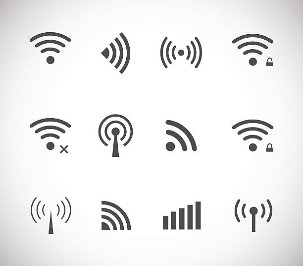 Set of different black vector wireless and wifi icons Set of different black vector wireless and wifi icons for remote access and communication via radio waves wave pattern stock illustrations
