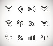 Set of different black vector wireless and wifi icons
