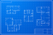 Set of different blueprint house plans