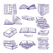Set of different books. Hand drawn vector sketch. Doodle illustrations isolate on white