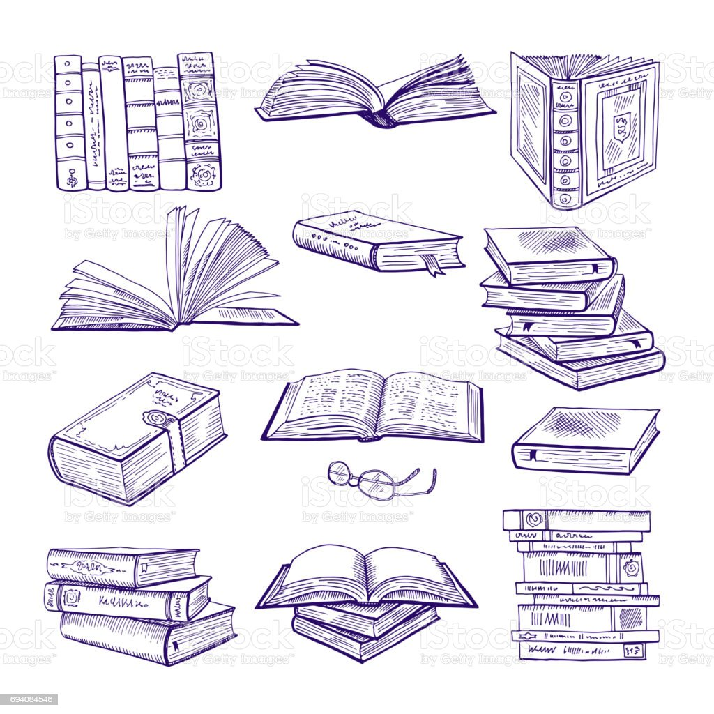 Set of different books. Hand drawn vector sketch. Doodle illustrations isolate on white vector art illustration