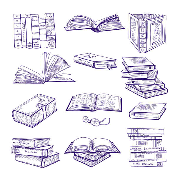 set of different books. hand drawn vector sketch. doodle illustrations isolate on white - book clipart stock illustrations