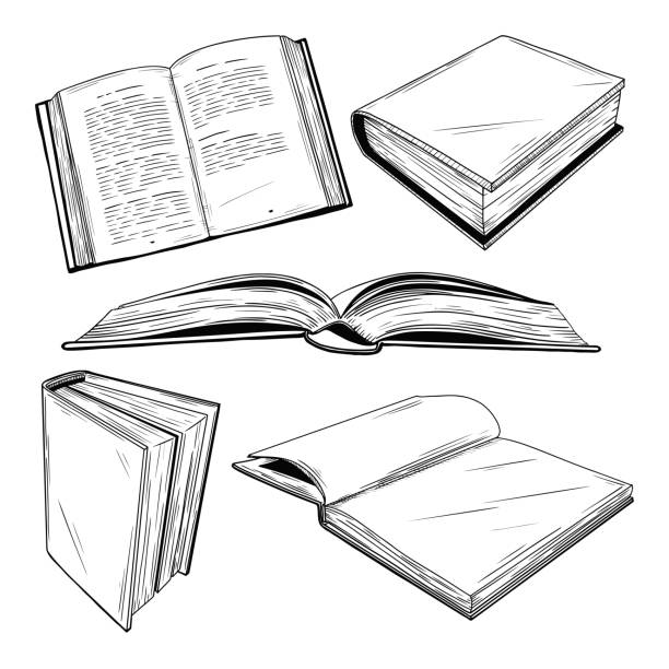 Set of different books on a white background. Vector illustration in sketch style. Set of different books on a white background. Vector illustration in sketch style. encyclopaedia stock illustrations