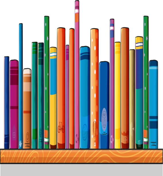 Set of different books vector art illustration