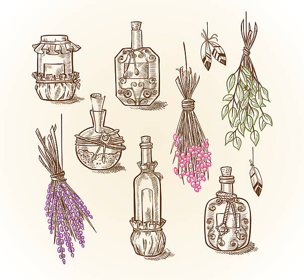 Set of different bottles and cans magic potions and liquids vector art illustration