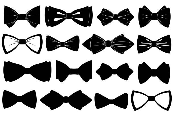Set of different bow ties Set of different bow ties isolated on white formalwear stock illustrations