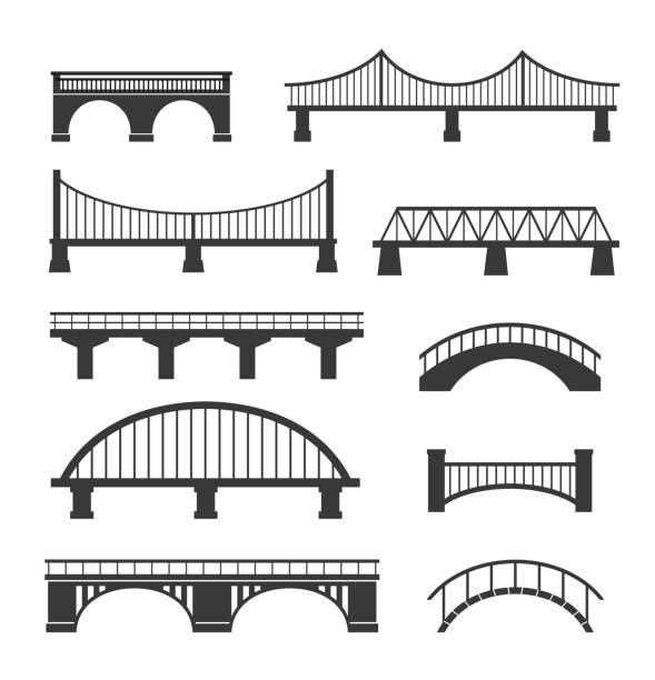 set of different bridges. isolated on white background. - bridge stock illustrations