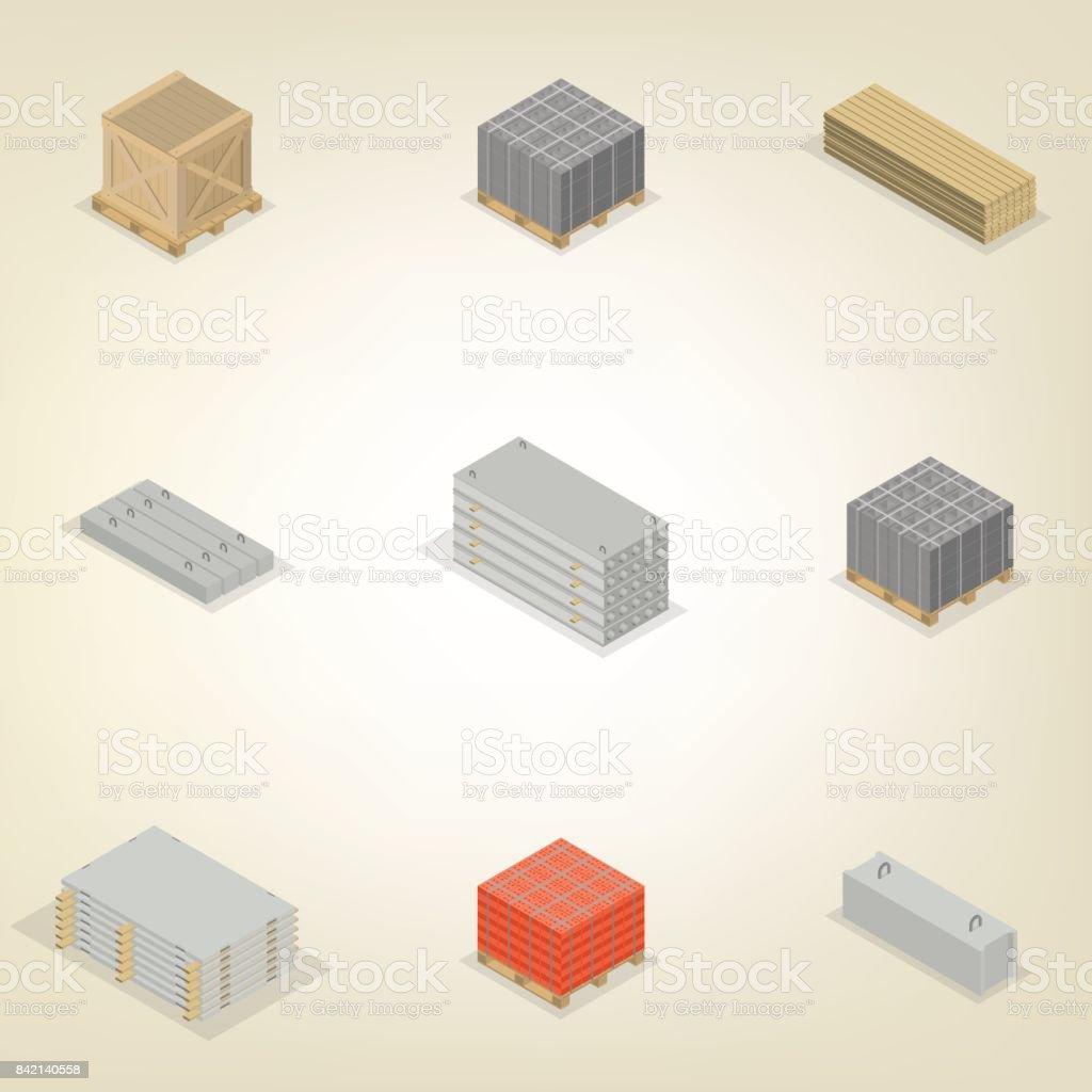 Set of different building materials in 3D, vector illustration. vector art illustration