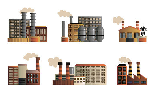 Set of different buildings of an industrial manufactory. Vector illustration in a flat cartoon style.