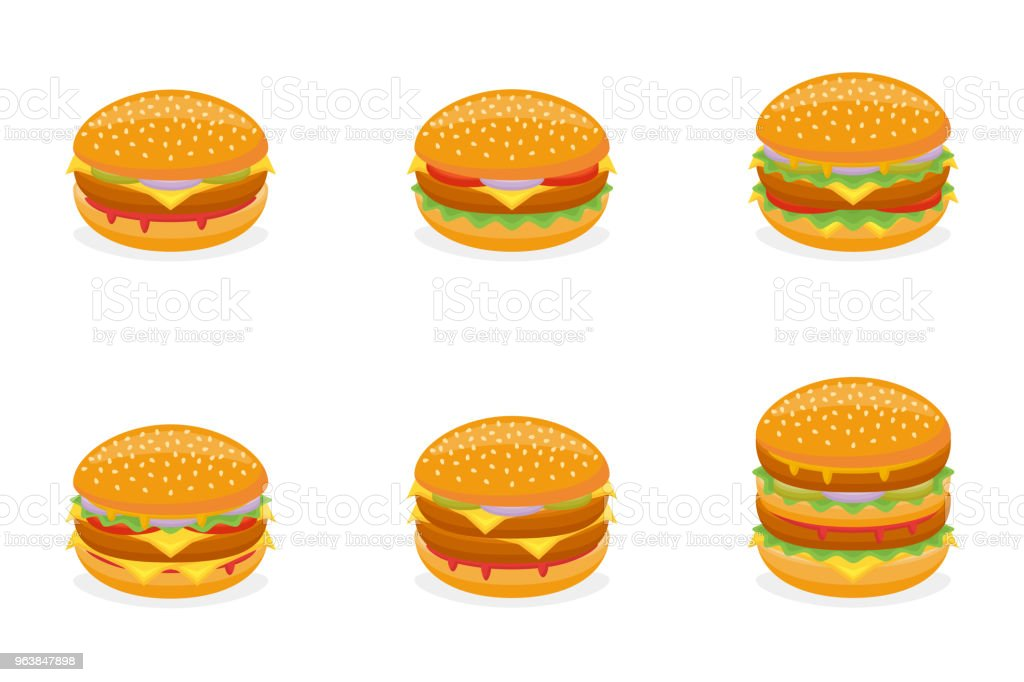 Set of different burgers isolated on white background. Fast food menu - Royalty-free American Culture stock vector