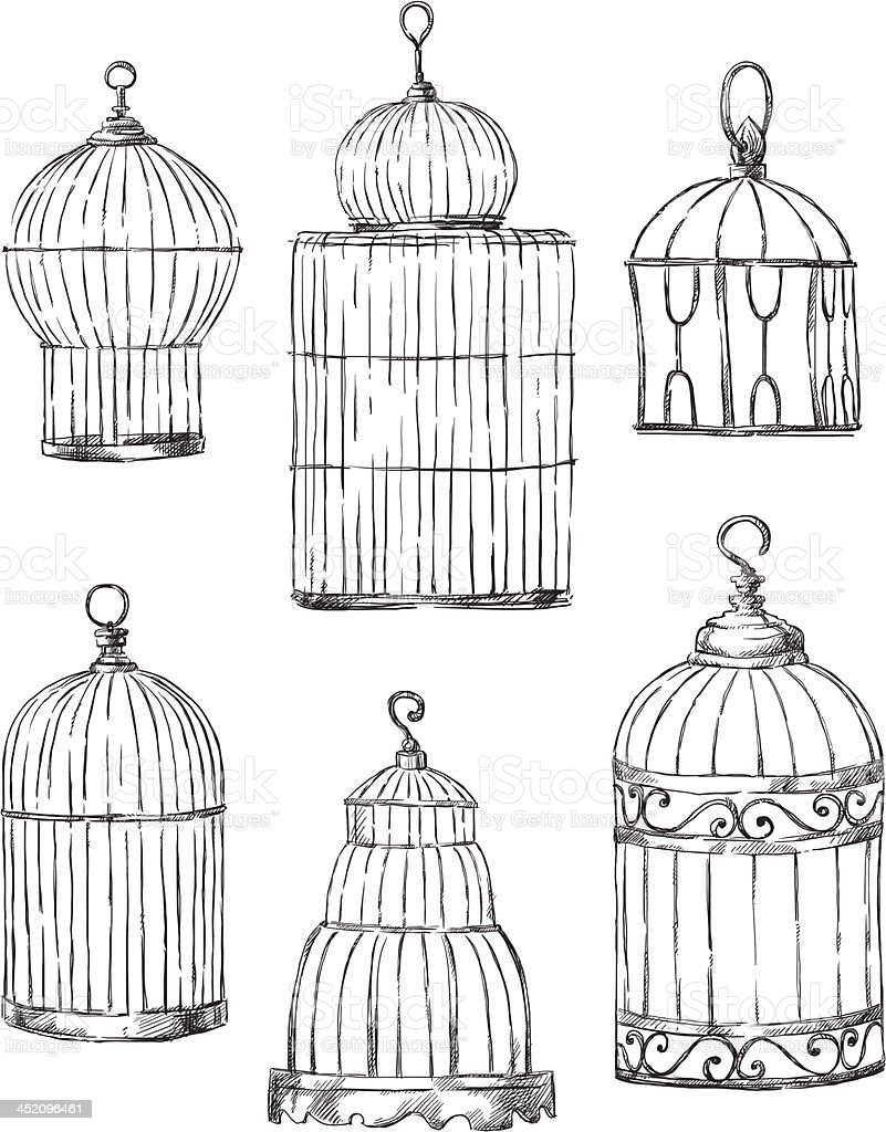 Set of different cages, hand-drawn vector art illustration