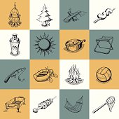 Set of different camping icons