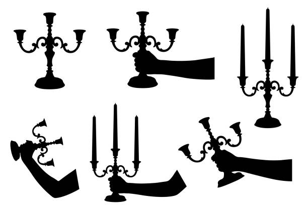 Set of different candlesticks Set of different candlesticks isolated on white candlestick holder stock illustrations