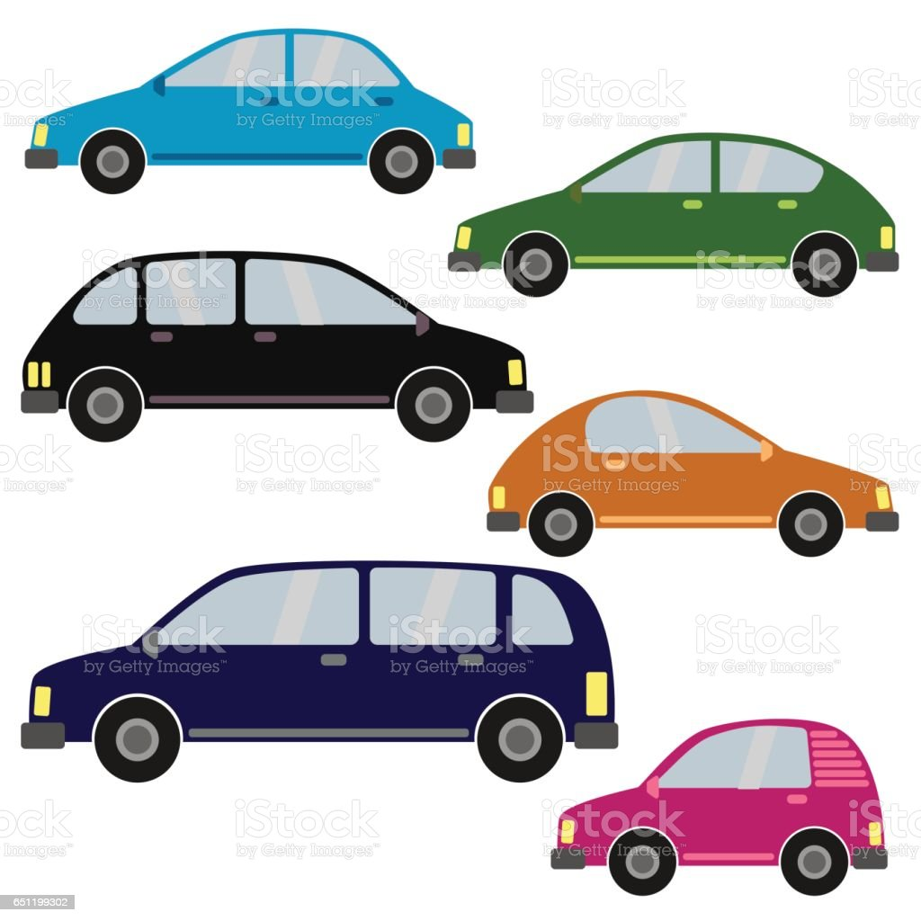 Set of different car types vector art illustration