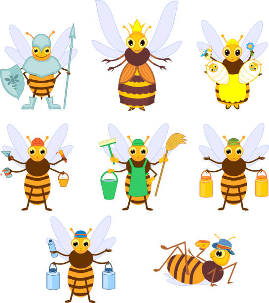 Set of different cartoon bee social castes isolated on white background Set of different cartoon bee social castes isolated on white background queen bee stock illustrations