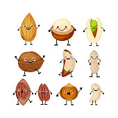 Set of different cartoon nuts vector illustration isolated on white background. Kawaii nuts