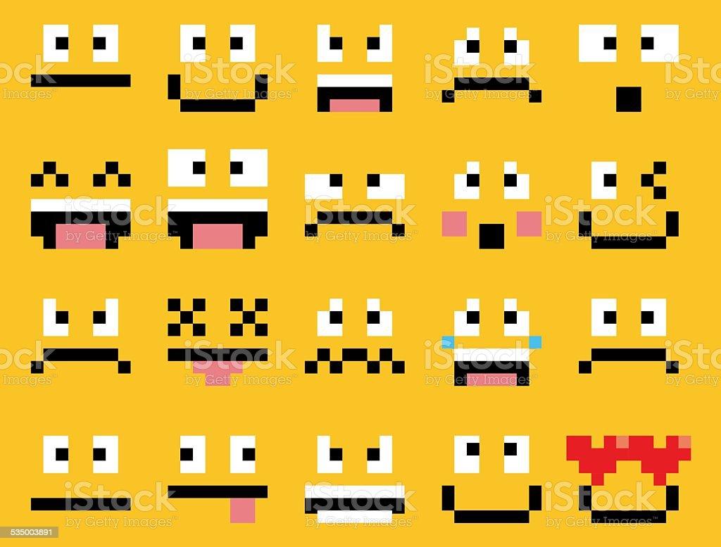 Ensemble De Différents Dessin Animé Visages Pixel Vecteurs