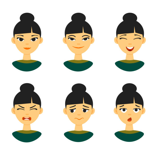 Set of different Chinese female girl emotions expression Collection of different Chinese asian female woman emotions expression emoji. Vector illustration isolated on white background asian woman stock illustrations