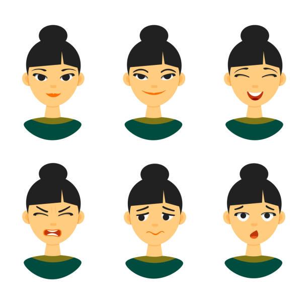 ilustraciones, imágenes clip art, dibujos animados e iconos de stock de sistema de expresión de las emociones diferentes chino mujer niña - asian woman