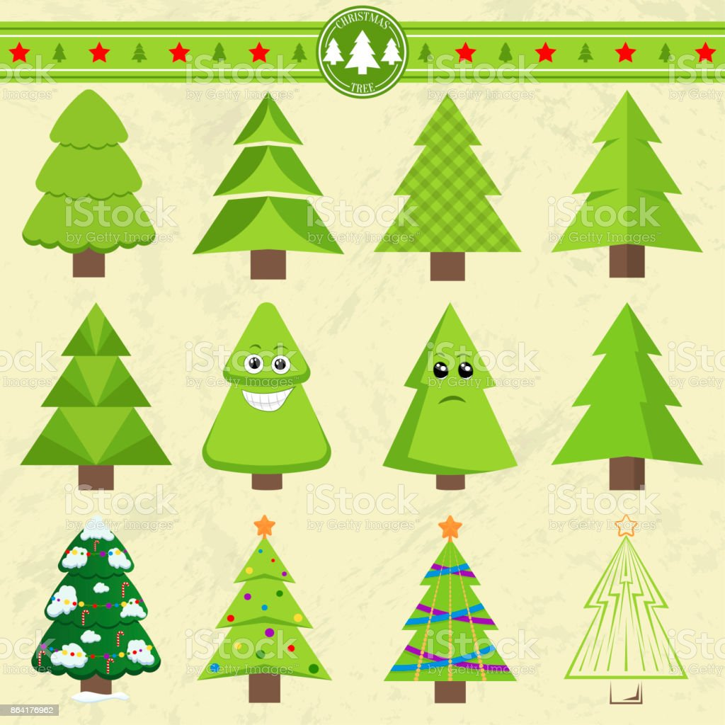 Set of different Christmas trees. Can be used for greeting cards, invitations, banners. Funny Christmas tree with a face royalty-free set of different christmas trees can be used for greeting cards invitations banners funny christmas tree with a face stock vector art & more images of abstract