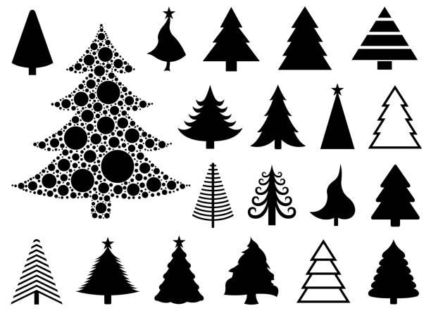 bildbanksillustrationer, clip art samt tecknat material och ikoner med uppsättning av olika julgranar - christmas tree