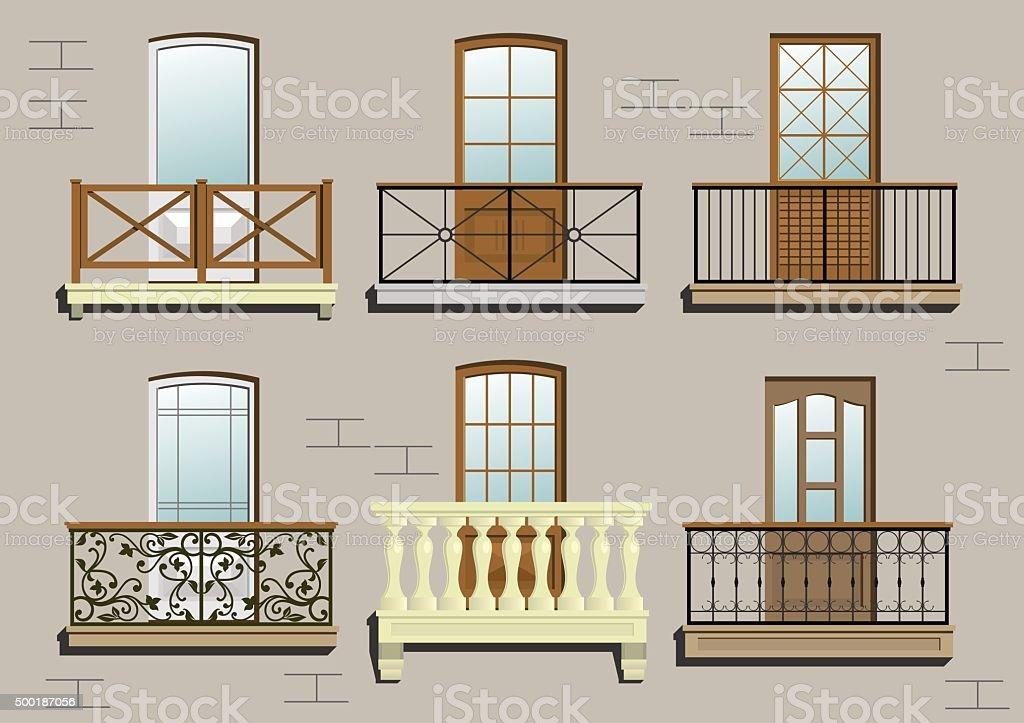 Set of different classical balconies vector art illustration