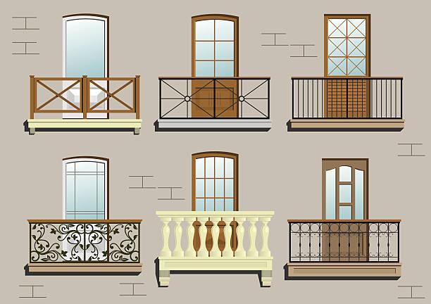 satz von verschiedenen klassischen balkon - gesims stock-grafiken, -clipart, -cartoons und -symbole