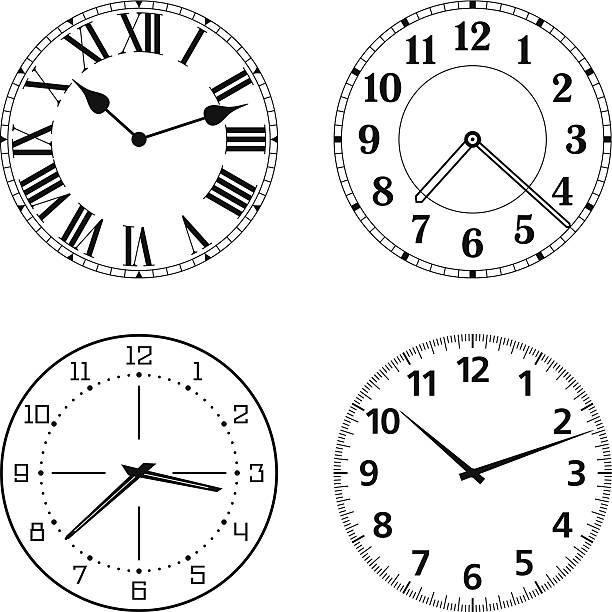 illustrazioni stock, clip art, cartoni animati e icone di tendenza di set di diverse facce di orologio - quadrante